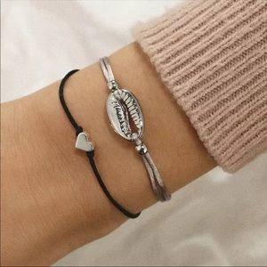 Adjustable Shell and Heart Charm Bracelet Set